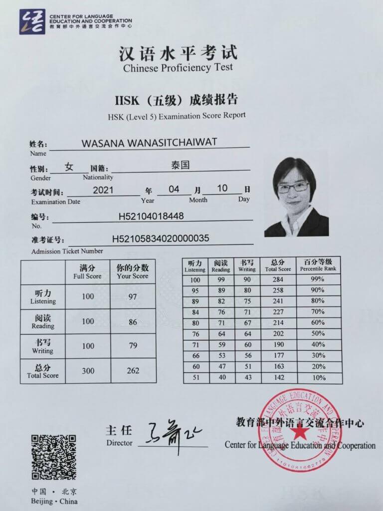 Certificate HSK5 K Was 262