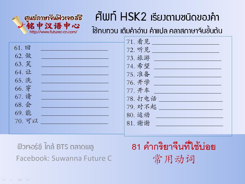 HSK2  Verb 61 - 81